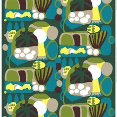 The beautiful Neppari fabric from Marimekko is made of heavyweight cotton and is perfect for curtains, cushions or to upholster a piece of furniture. The detailed and lively pattern is designed by Pia Holm and becomes a real color of splash for your home. Combine it with other stylish products from Finnish Marimekko!