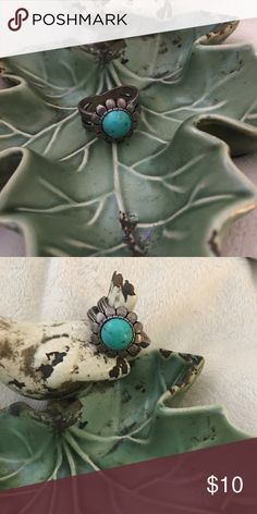 Turquoise Ring Genuine turquoise floral ring Jewelry Rings