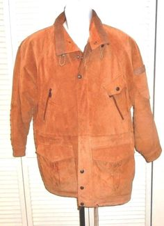 Fox Run Men's Vintage Brown Suede Leather Rancher Hunting Coat Lined Size Large #FoxRun #RancherHuntingCoat