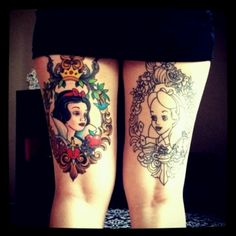 Alice in Wonderland and Snow White tattoos