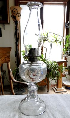 Antique Early 1900's SAILBOAT PAINTED Oil Lamp with and Vintage Chimney and Burner-Ready to Use by TheCalamityHouse on Etsy