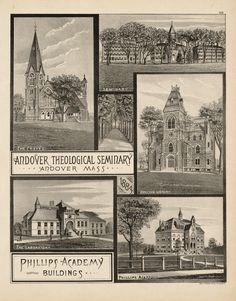 Andover Theological Seminary and Phillips Academy Buildings, 1884.