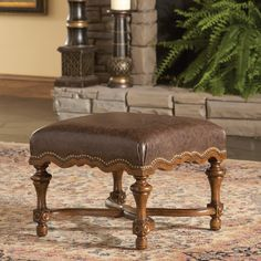 Santa Fe Leather Ottoman | Ambella Home | Home Gallery Stores