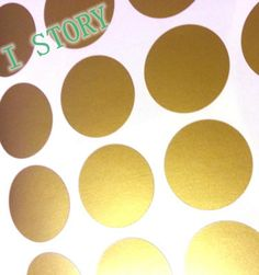 [Visit to Buy] Polka Dot Wall Sticker Gold Wall Decal , Peel and Stick Metallic Gold Polka Dot Wall Sticker Home Decor #Advertisement