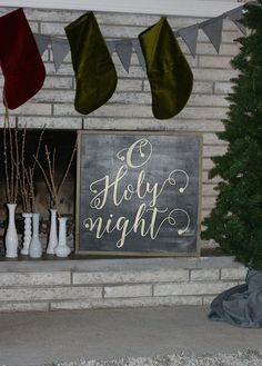 24x24 O holy night framed wood sign *Christmas sign