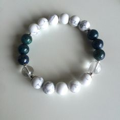 Genuine Chrysocolla, Crystal Quartz & White Howlite w/ Sterling Silver Accents ~ Patience by peaceofmindinc. Explore more products on http://peaceofmindinc.etsy.com