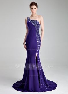 Prom Dresses - $186.99 - Mermaid One-Shoulder Court Train Chiffon Prom Dress With Beading (018019007) http://jjshouse.com/Mermaid-One-Shoulder-Court-Train-Chiffon-Prom-Dress-With-Beading-018019007-g19007