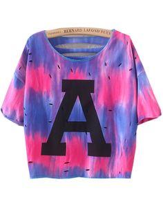Purple Short Sleeve A Print Hollow Crop T-Shirt - Sheinside.com