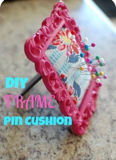 Never loose your pins in the middle of a crafting project. We're loving this cute frame to store our pins.