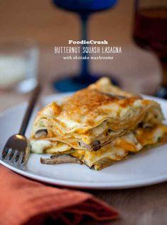 Butternut Squash Lasagna with Shiitake Mushrooms   37 Delicious Vegetarian Recipes For Thanksgiving