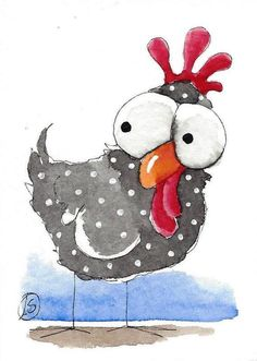 ACEO Original watercolor painting whimsical farm bird curious chicken #IllustrationArt