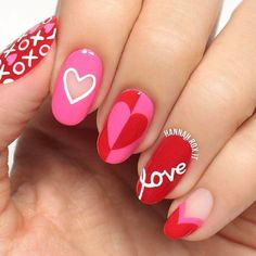 #heartnails #valentinenails #heartvalentinenails #multicoloredvalentinenails #cutenailart #nails #naildesigns #valentinenailart #pinkvalentinenails #redvalentinenails #lovenails #pinkandredvalentinenails