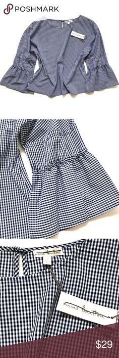 """Nine Britton Gingham Ruffle Bell Sleeve Top NWT New with tags, from StitchFix! Great structured sleeves with a boxier fit in navy blue and white gingham checkers.  •Women's size L •65% Polyester, 5% Cotton  •22"""" across underarms, 23.5"""" from shoulder to hem  •Retail $65 👋🏼 Make me an offer!  🥂 Thank you for shopping in my closet! xoxo Kate • nine britton Tops Blouses"""