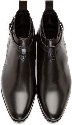 Saint Laurent Black Leather London Ankle Boots