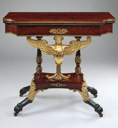 Card table, 1817  Charles-Honoré Lannuier (French, 1779–1819)  New York City  Mahogany veneer, gilded gesso, vert antique, gilded brass with white pine, yellow poplar