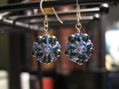 Swarovski crystals & pearls, Japanese glass beads & sterling silver earrings