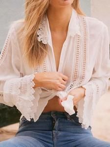 Casual Lace Splicing Long Sleeve Pure Colour Shirt – blouses for women,blouses fall,blouses outfit,shirt blouses,fall bl Shirts & Tops, Shirt Blouses, Lace Blouses, Lace Outfit, Blouse Outfit, Plus Dresses, Overall, One Piece Swimwear, Ladies Dress Design