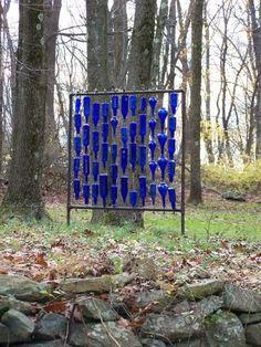 Blue Bottle Trees Design Wall!!! Bebe'!!! Decorative Bottle Display!!!