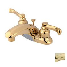 Elements of Design Polished Brass 2-Handle Bathroom Sink Faucet (Drain Included)