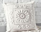 Handmade Crochet Pillow Cover /ecru cotton yarn with natural wood buttons,Ready to ship