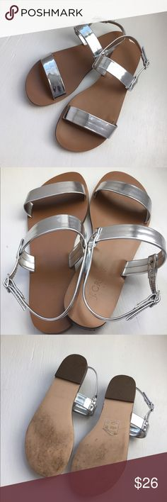J. CREW Mirrored Metallic Sandals Near perfect condition! Worn out of the house once and well kept in my closet since. Fits true to size 6. Easy slip on style. Perfect spring or summer style! ✨ J. Crew Shoes Sandals