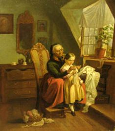 Elderly Woman And A Child Sewing