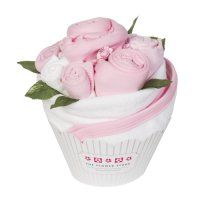 Cupcake Bouquet - Baby Girl Pink  Baby's 1st Cupcake couldn't get much sweet than this. This stunning Baby Clothes Bouquet is filled with a complete set of essential items for the new arrival to take them from bath time to bed time, styled as a large cupcake.    Cupcake ingredients:  2 pairs of baby socks 2 bodysuits 1 sleepsuit 1 bib  1 muslin square  1 baby washcloth 1 hooded baby towel  Beautifully finished with paper