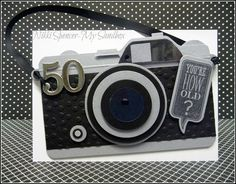 My Sandbox: 50th Birthday Wishes for the man! Envelope Punch Board and Framelit Camera.