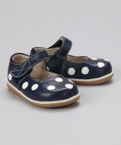 Take a look at this Navy & White Polka Dot Mary Jane on zulily today!