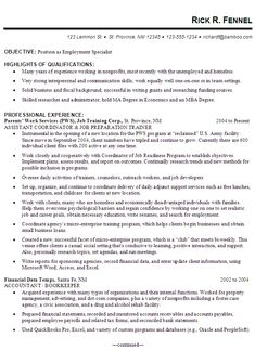 Sample Resume For Someone Seeking A Job As An Employment Specialist