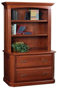 Amish Buckingham Lateral File Cabinet with Optional Bookshelf Top quality for executive or home office. Built in choice of wood, stain and hardware. Option to add lighting. American made wood office furniture. #filecabinet #lateralfile #office