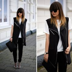 Missguided Blouse And Vest, Ivanka Trump Black And White Heels, &Otherstories Sunglasses. Look by Iris
