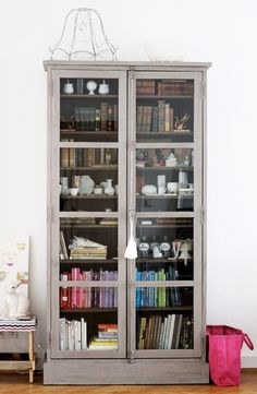 Gray book cabinet I want this for my house! Glass Front Cabinets, Glass Cabinet Doors, Glass Doors, Glass Bookcase, Glass Shelves, Cupboards, Painted Furniture, Diy Furniture, Painted Hutch