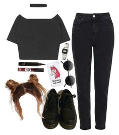 """""""I just had a change of heart"""" by grunge4lyfe ❤ liked on Polyvore featuring Topshop, TheBalm, Dr. Martens, Retrò, Miss Selfridge, Casio, StreetStyle, black, ootd and grunge"""