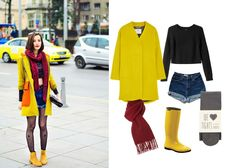 We would wear bright colors, like Red, Yellow during these days, because they will make you feel cheerful and happy. Cloudy days always need to get more uplifted. #rainyboots #cheerful #happy