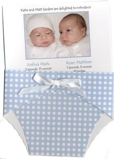 Unique card for twins birth announcement (http://www.bellababy.com/twins-diaper-notes-baby-announcements/)