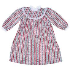 Tyrolean Classic Christmas Nightgown for Big Girls 12-14. The whole family can match this holiday season with classic Christmas sleepwear by RU Sleeping! This piece is a delicate Tyrolean floral print nightgown girls. It has classic yoke neckline. There are matching pieces available for boys, baby girls, women, and men. • Classic holiday plaid• Made in the USA!• Quality boutique brand sleepwear• Flame resistant polyster.
