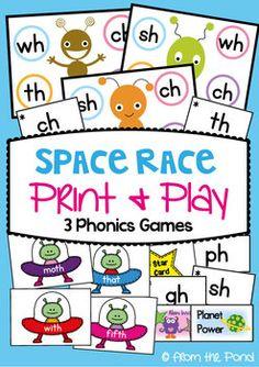 Space Race - Consonant Digraphs Literacy Centers / Activit