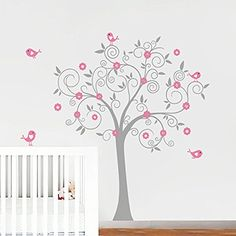 Birds Flowers Tree Wall Decal Sticker Mural Wallpaper Vinyl Baby Room Nursery Play Room Girls Romantic 180x180cm Home Decoration >>> Read more reviews of the product by visiting the link on the image.