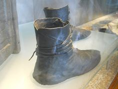 Leather boots exhibited at the Viking Ship Museum, Oslo, Norway.