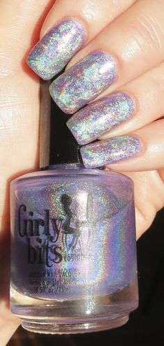 Holographic Dry Marble Manicure - taken in sunlight.