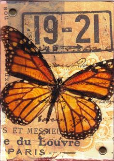 Original mixe media ACEO - French Butterfly by Kitty van den Heuvel, for sale on Etsy.