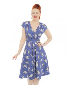 'Dawn' Blue Cool Cat Print Swing Dress