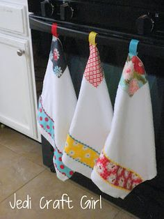 Cute idea for non-falling kitchen towels. I hate it when I hang a towel and ten minutes later it's on the floor!