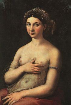 Raphael Sanzio, La fornarina, 1518-1519 beauty, art, intense. The love of Raphael's life