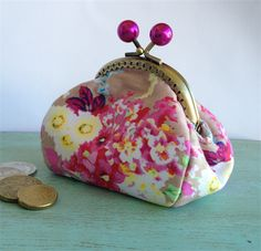 Little Dumpling Coin Purse - pink and taupe floral with kiss lock closure | Kerri's Hangups | madeit.com.au