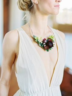 Statement necklace for bride - burgundy floral necklace for wedding East Made Event Company Bridal Accessories, Wedding Jewelry, Milena, Alternative Bouquet, Floral Headpiece, Floral Necklace, Arte Floral, Floral Fashion, Wedding Shoot