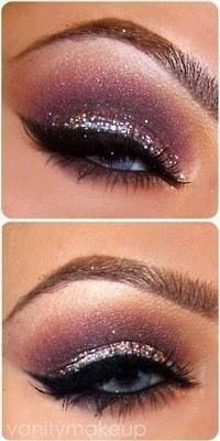 Beautiful purple smokey eye with glitter....This is the perfect makeup to wear for X-mas parties