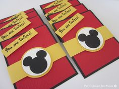 8 Black And Red Mickey Mouse Party Invitation Birthday Disney 1250