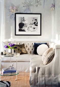 Corner banquette…soothing colors…love the black and white photograph...